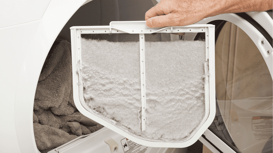 clean dryer lint from filter